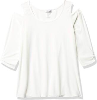 Star Vixen Women's Petite Long Sleeve Cold Shoulder Super Soft Top