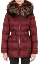 Prada Women's Fur-Trimmed Quilted Belted Coat