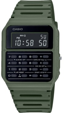 Casio Unisex Digital Calculator Green Resin Strap Watch 34.4mm