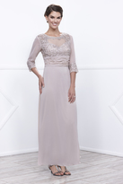 Unique Vintage Sand Embroidered Lace Three-Quarter Sleeve Long Dress