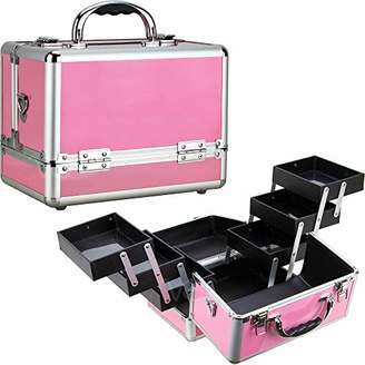 Ver Beauty Train makeup case travel organizer with 6 extendable trays cosmetic storage with bottom compartment by ver beauty