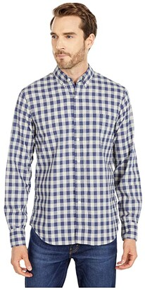 J.Crew Slim Organic Stretch Wash Woven Shirt in Heather Hudson Gingham (Heather Hudson Gingham Grey/Blue) Men's Clothing