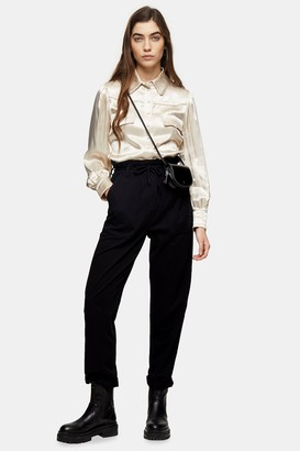 Topshop Black Marl Tapered Trousers