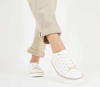 Office Frappuccino Lace Up Trainers White Nude Mix