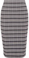 Victoria Beckham Checked Woven Pencil Skirt - Black