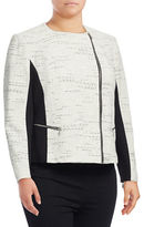 Calvin Klein Plus Tweed and Ponte Moto-Zip Jacket