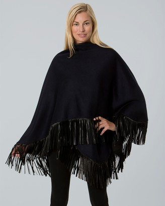 Sofia Cashmere Cashmere Leather Fringe Wrap Cape