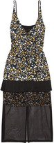 Mother of Pearl Odelia organza-paneled floral-print silk midi dress