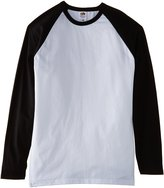 Fruit of the Loom Long sleeve baseball tee - White/Black - L