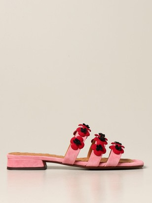 Chie Mihara Tecun Sandal In Suede With Flowers