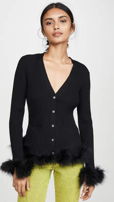 Opening Ceremony Ribbed Cardigan with Feather Trim