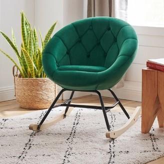 Corrigan Studio Konen Rocking Chair Fabric: Dark Green