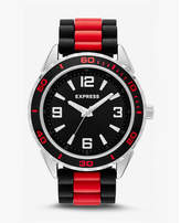Express striped silicone strap watch - red & black