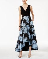 Xscape Evenings Illusion-Inset Floral-Print High-Low Gown