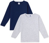 Petit Bateau Set of 2 boys plain long-sleeved t-shirts