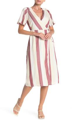 Dee Elly Striped Wrap Midi Dress