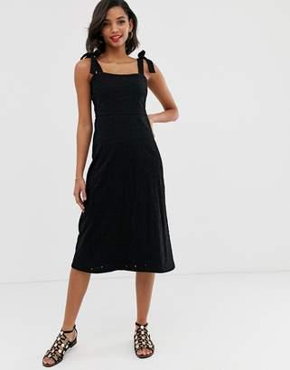 Asos Design DESIGN tie strap clean broderie midi sundress-Black