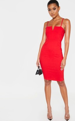 Ooh! La Oohla Red Woven V Detail Strappy Midi Dress