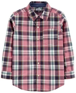 Carter's Big Boy Plaid Poplin Button-Front Shirt