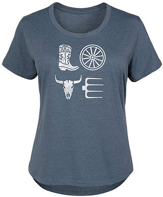 Icons Instant Message Plus Women's Tee Shirts HEATHER - Heather Blue 'Love' Country Scoop Neck Tee - Plus