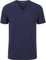 Mercerized Jersey V Tee In Navy