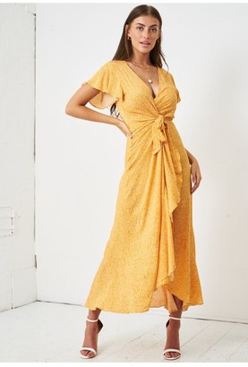 Love Frontrow Ditsy Floral Short Sleeve Maxi Wrap Dress | Yellow