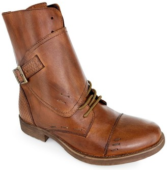 ROAN Calf-High Leather Flap Boots - Deception