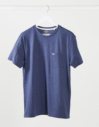 Threadbare crew neck t-shirt with pocket detail in denim marl
