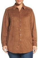 Foxcroft Plus Size Women's Faux Suede Tunic Shirt