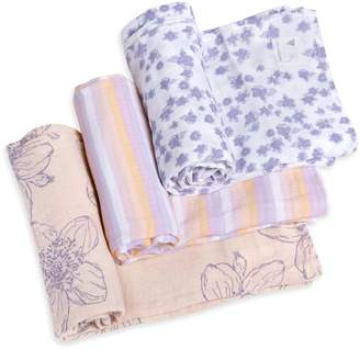 Burt's Bees Blackberry Floral Watercolor Organic Muslin Swaddle Blankets 3 Pack