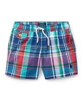 Ralph Lauren Traveler Plaid Swim Trunks, Size 5-7