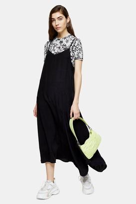 Topshop Womens Washed Black Lightweight Denim Midi Slip Dress - Washed Black