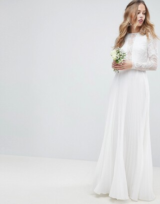 Asos Edition EDITION long sleeve lace bodice maxi wedding dress with pleated skirt-Cream