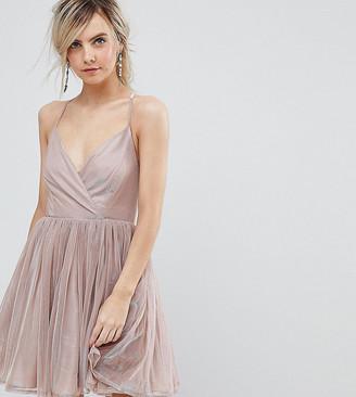 Asos Metallic Tulle Mini Dress-Pink