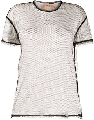 No.21 mesh logo T-shirt