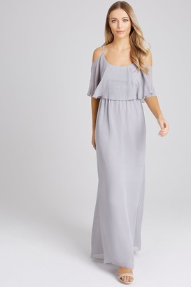 Girls On Film Motion Grey Chiffon Cold Shoulder Maxi Dress