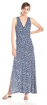 Three Dots Women's Spotted Ikat Cross Over Maxi Dress with Side Slits