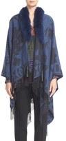 Etro Women's Cashmere Cape With Genuine Fox Fur Collar