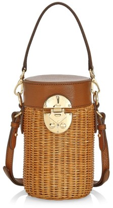 Miu Miu Midollino Mini Leather & Wicker Bucket Bag