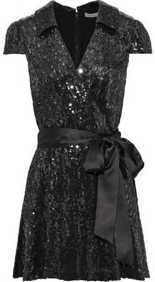 Alice + Olivia Bayley Wrap-effect Sequined Chiffon Mini Dress
