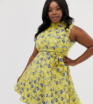 Yumi Plus floral mini dress-Yellow