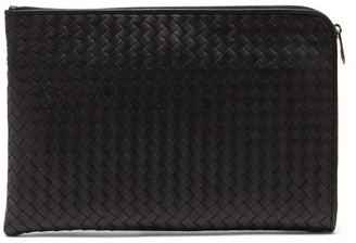 Bottega Veneta Intrecciato Leather Document Holder - Mens - Black