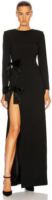 Saint Laurent Long Sleeve Slit Dress in Noir | FWRD