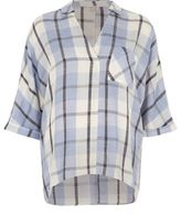 River Island Womens Blue check blouse