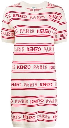Kenzo striped logo print knitted dress