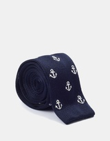 Navy Anchor Knitted Tie