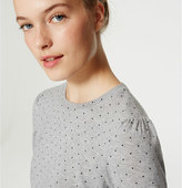 LOFT Petite Dot Puff Sleeve Sweater