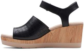 Clarks Cammy Glory Leather Wedge Sandals - Black