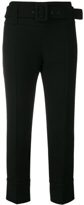 Prada Cropped Belted Trousers