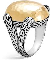 John Hardy Sterling Silver and 18K Bonded Gold Classic Chain Hammered Large Oval Ring